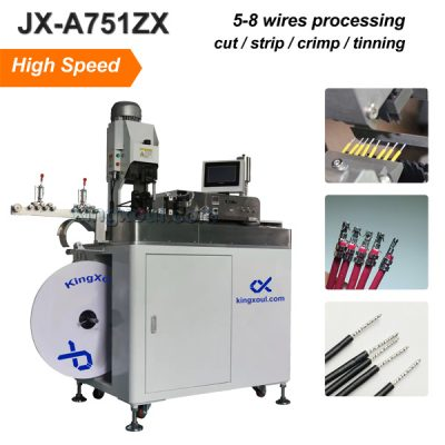 High Speed Wire Crimping and Tinning Machine ,5 wires processing in parallel